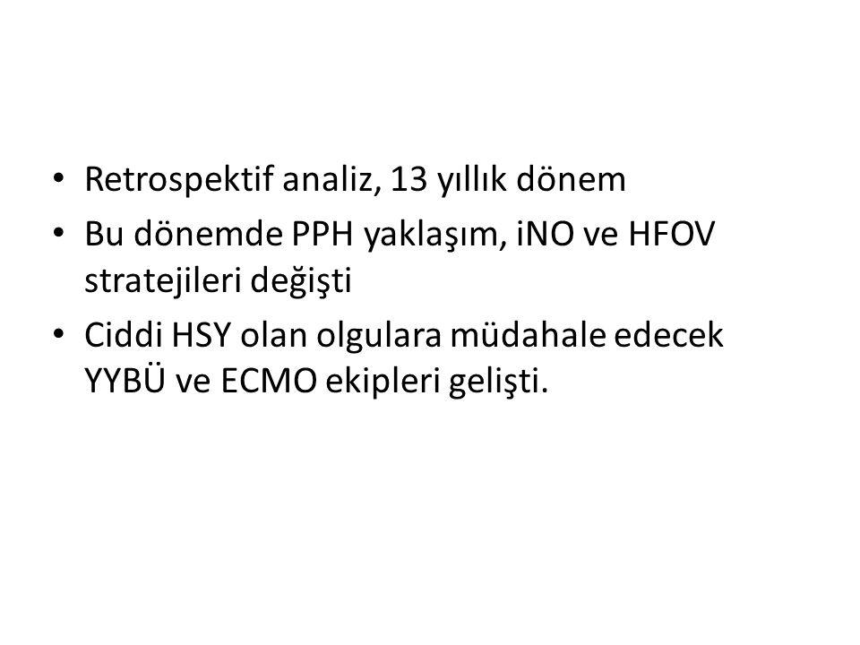 Retrospektif analiz, 13 yıllık dönem Bu dönemde PPH yaklaşım, iNO ve HFOV stratejileri değişti Ciddi HSY olan olgulara müdahale edecek YYBÜ ve ECMO ekipleri gelişti.