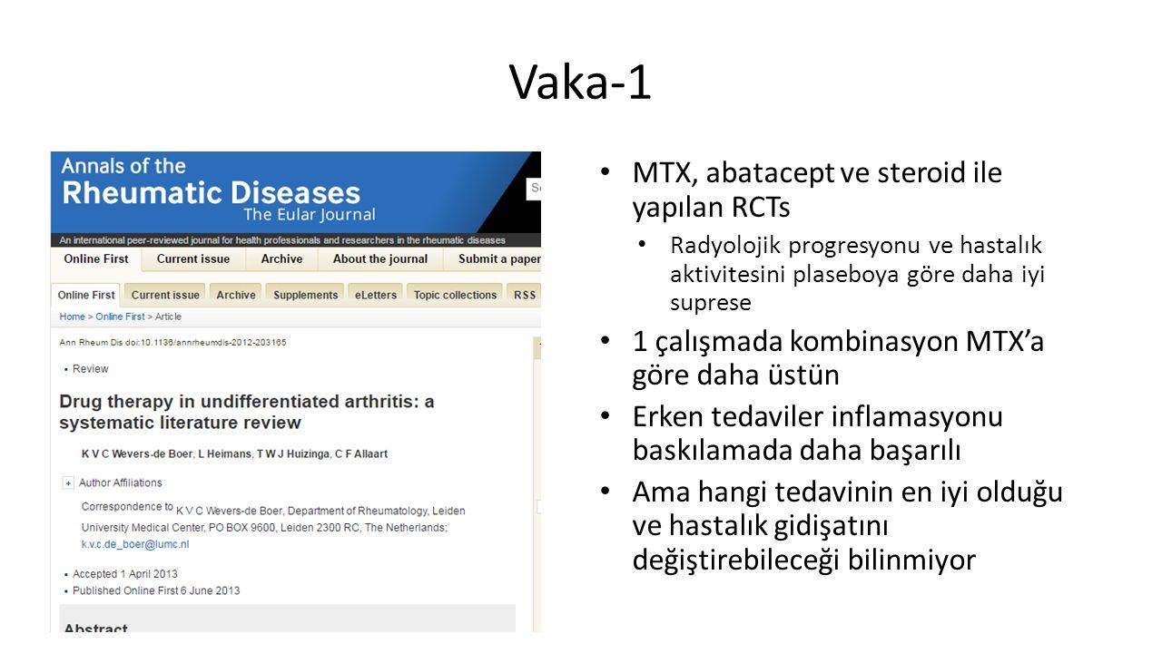 MTX, abatacept ve steroid ile yapılan RCTs Radyolojik progresyonu ve hastalık aktivitesini plaseboya göre daha iyi suprese 1 çalışmada kombinasyon MTX'a göre daha üstün Erken tedaviler inflamasyonu baskılamada daha başarılı Ama hangi tedavinin en iyi olduğu ve hastalık gidişatını değiştirebileceği bilinmiyor Vaka-1