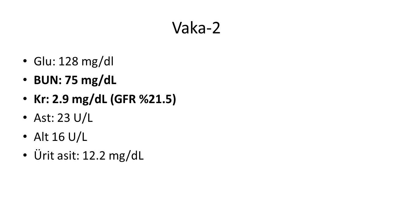 Vaka-2 Glu: 128 mg/dl BUN: 75 mg/dL Kr: 2.9 mg/dL (GFR %21.5) Ast: 23 U/L Alt 16 U/L Ürit asit: 12.2 mg/dL