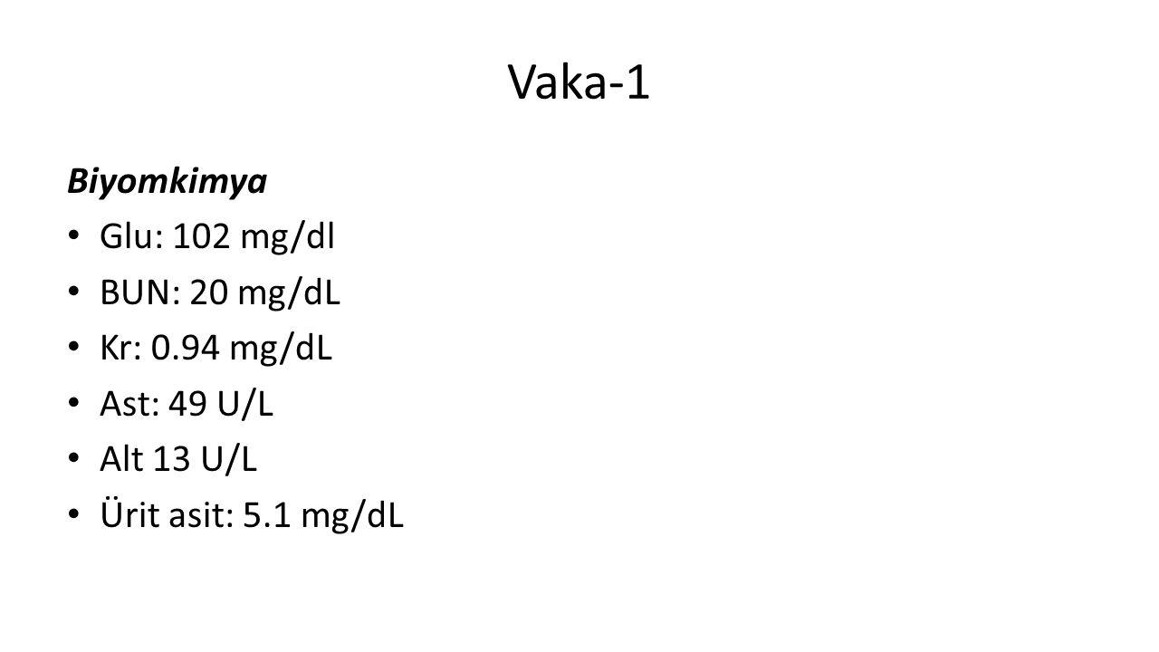 Vaka-1 Biyomkimya Glu: 102 mg/dl BUN: 20 mg/dL Kr: 0.94 mg/dL Ast: 49 U/L Alt 13 U/L Ürit asit: 5.1 mg/dL