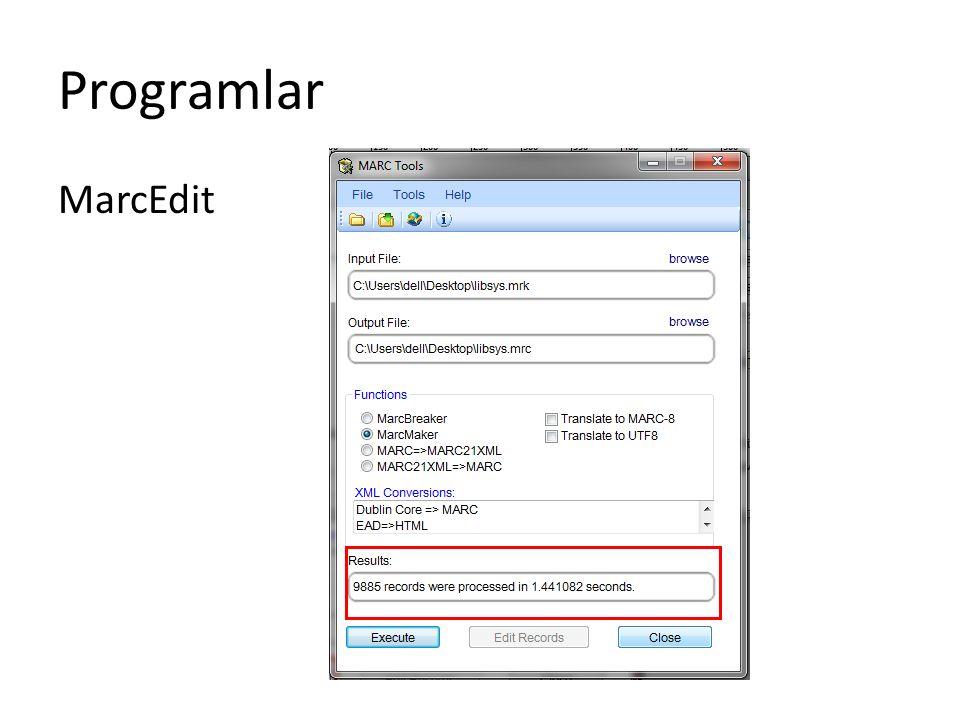 Programlar MarcEdit