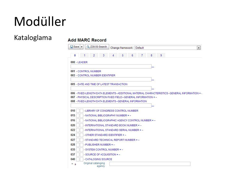Modüller Kataloglama