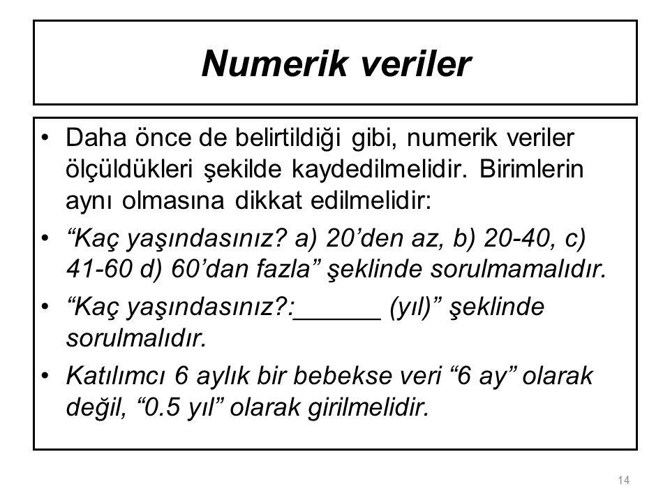 Numerik veriler Daha önce de belirtildiği gibi, numerik veriler ölçüldükleri şekilde kaydedilmelidir.