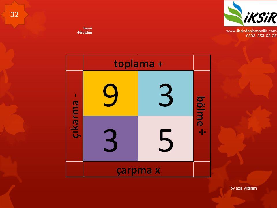 www.iksirdanismanlik.com 0332 353 53 35 32 beceri dört işlem by aziz yıldırım