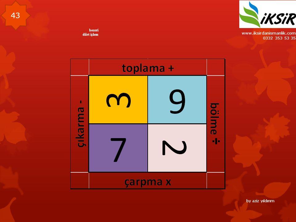 www.iksirdanismanlik.com 0332 353 53 35 43 beceri dört işlem by aziz yıldırım