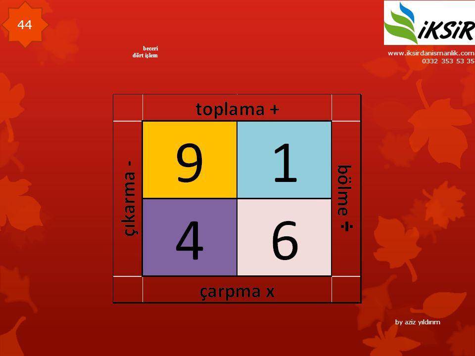 www.iksirdanismanlik.com 0332 353 53 35 44 beceri dört işlem by aziz yıldırım