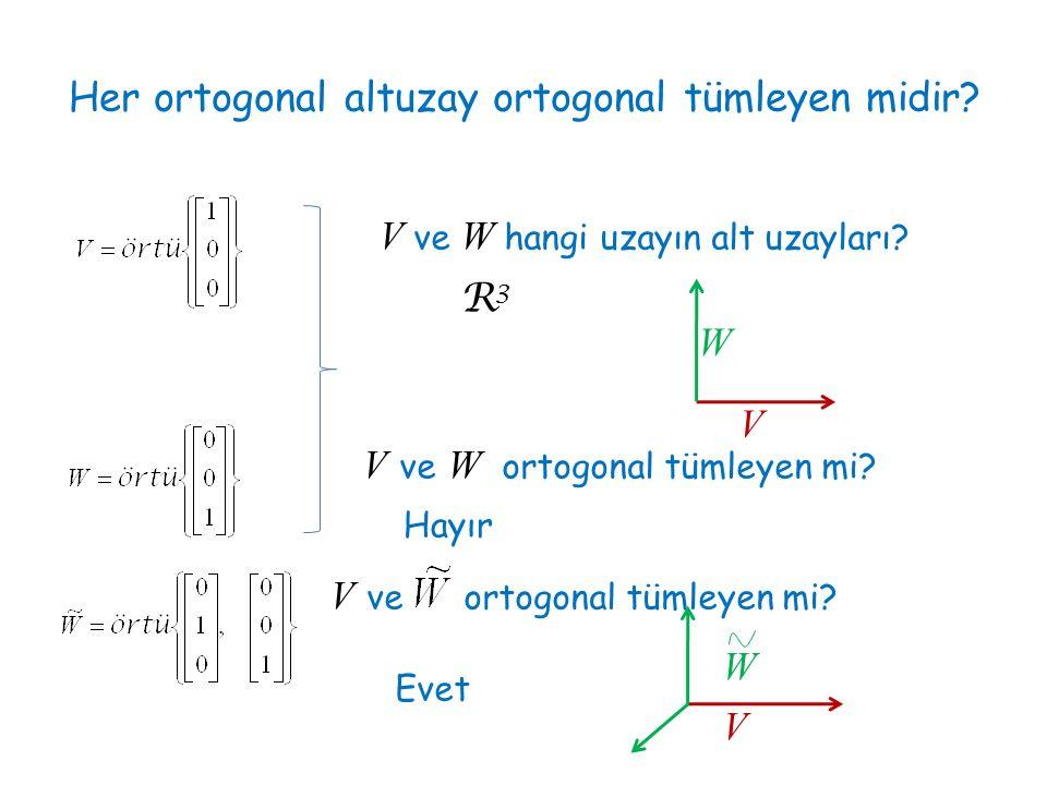 Her ortogonal altuzay ortogonal tümleyen midir? V ve W hangi uzayın alt uzayları? R3R3 V W V ve W ortogonal tümleyen mi? Hayır V ve ortogonal tümleyen
