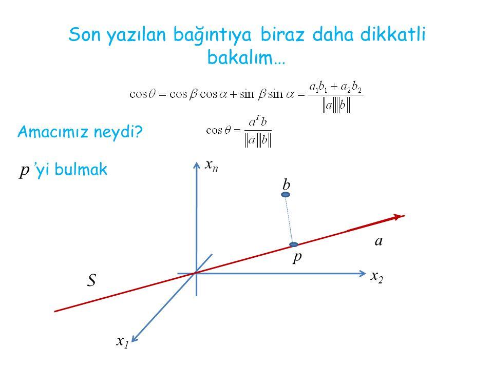 Son yazılan bağıntıya biraz daha dikkatli bakalım… Amacımız neydi? p' yi bulmak xnxn x1x1 x2x2 b S p a