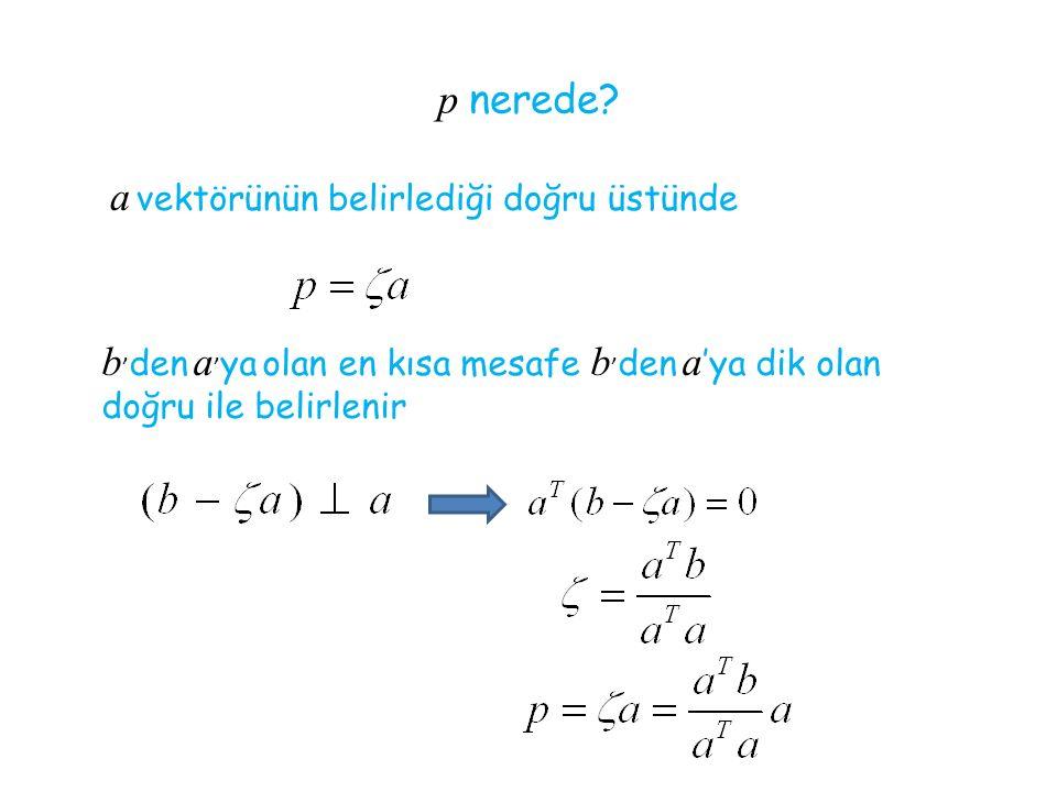 p nerede? a vektörünün belirlediği doğru üstünde b ' den a ' ya olan en kısa mesafe b ' den a 'ya dik olan doğru ile belirlenir
