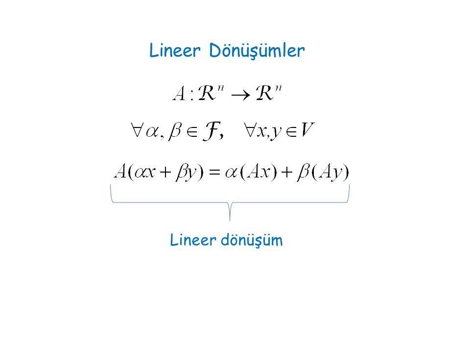 Lineer Dönüşümler Lineer dönüşüm