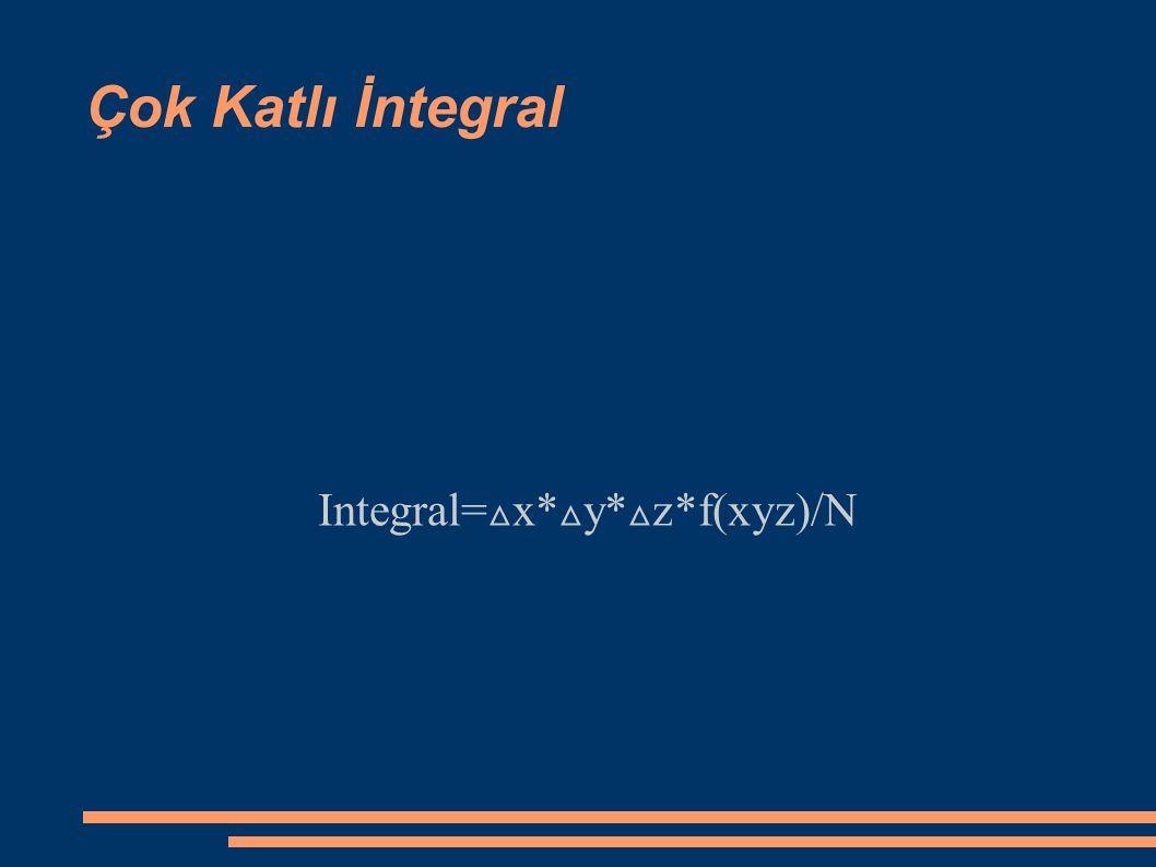 Çok Katlı İntegral Integral= △ x* △ y* △ z*f(xyz)/N