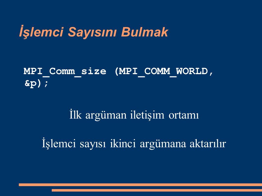 İşlemci Sayısını Bulmak İlk argüman iletişim ortamı İşlemci sayısı ikinci argümana aktarılır MPI_Comm_size (MPI_COMM_WORLD, &p);