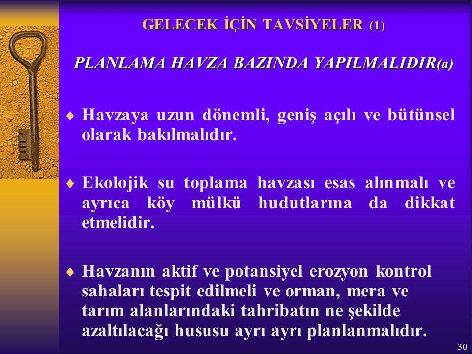 30 GELECEK İÇİN TAVSİYELER (1) PLANLAMA HAVZA BAZINDA YAPILMALIDIR (a)  Havzaya uzun dönemli, geniş açılı ve bütünsel olarak bakılmalıdır.