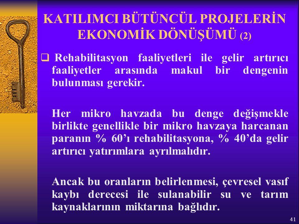 41 KATILIMCI BÜTÜNCÜL PROJELERİN EKONOMİK DÖNÜŞÜMÜ (2)  Rehabilitasyon faaliyetleri ile gelir artırıcı faaliyetler arasında makul bir dengenin bulunması gerekir.