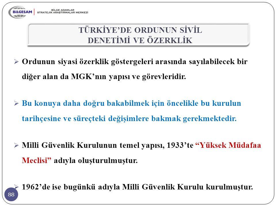 88  Ordunun siyasi özerklik göstergeleri arasında sayılabilecek bir diğer alan da MGK'nın yapısı ve görevleridir.