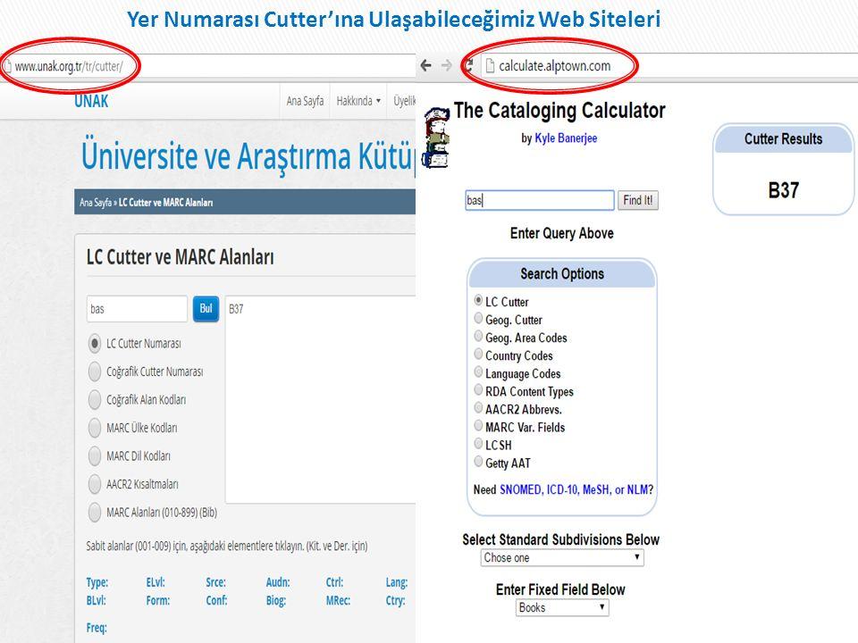 Yer Numarası Cutter'ına Ulaşabileceğimiz Web Siteleri