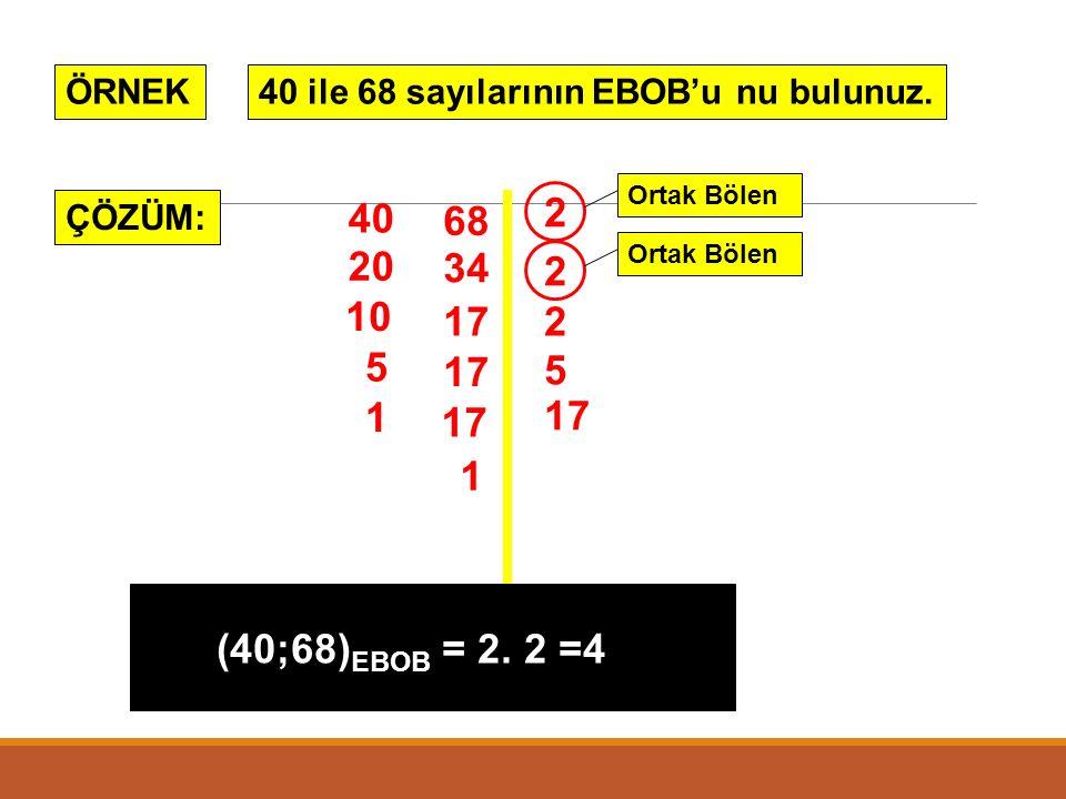 1. EN BÜYÜK ORTAK BÖLEN (E.B.O.B) İki veya daha fazla sayıların ortak bölenleri arasında en büyük olanına bu sayıların En Büyük Ortak Böleni (E.B.O.B)