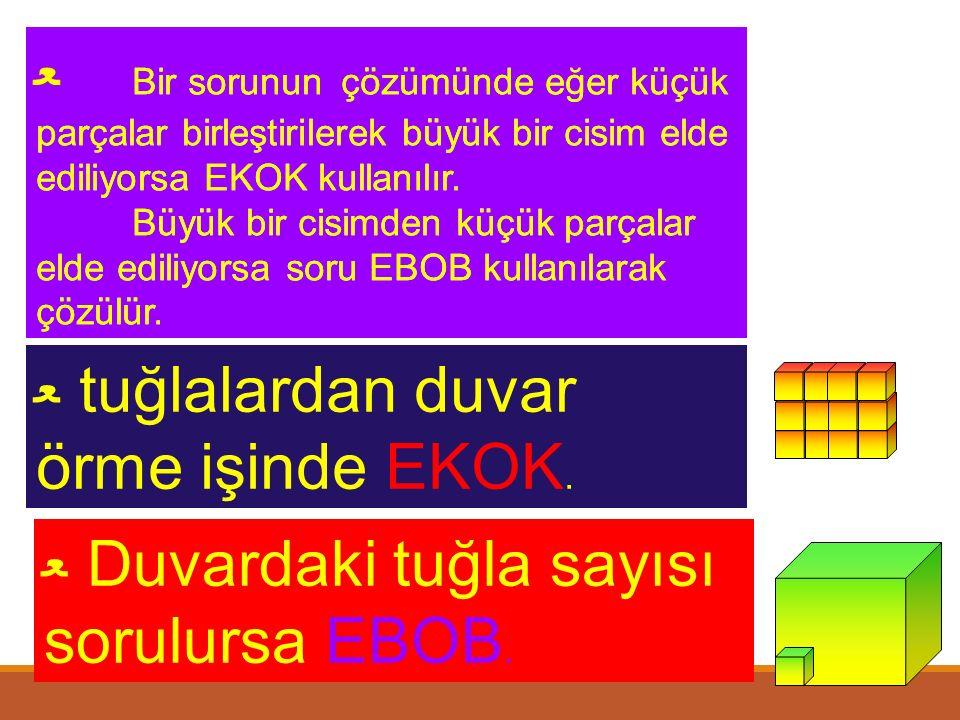 ﻌ A ve B sayıları arasında asal ise EKOK(A, B) = A.B ﻌ Ardışık iki sayma sayısı daima aralarında asaldır. ﻌ İki sayının çarpımı EBOB ve EKOK'larının ç