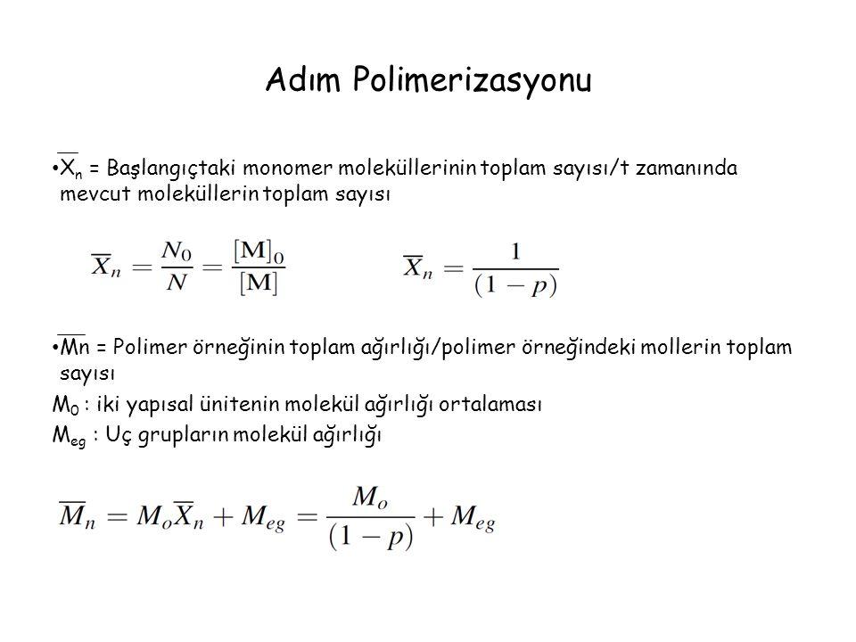 Adım Polimerizasyonu X n = Başlangıçtaki monomer moleküllerinin toplam sayısı/t zamanında mevcut moleküllerin toplam sayısı Mn = Polimer örneğinin toplam ağırlığı/polimer örneğindeki mollerin toplam sayısı M 0 : iki yapısal ünitenin molekül ağırlığı ortalaması M eg : Uç grupların molekül ağırlığı
