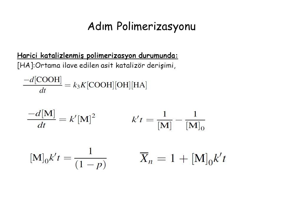 Adım Polimerizasyonu Harici katalizlenmiş polimerizasyon durumunda: [HA]:Ortama ilave edilen asit katalizör derişimi,