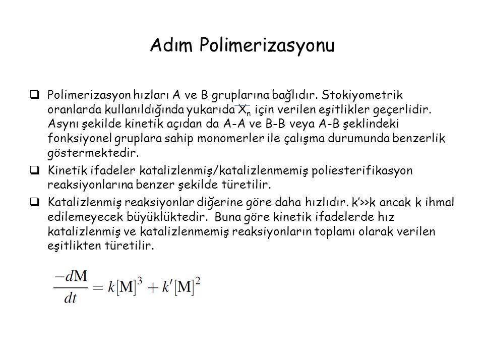 Adım Polimerizasyonu  Polimerizasyon hızları A ve B gruplarına bağlıdır.