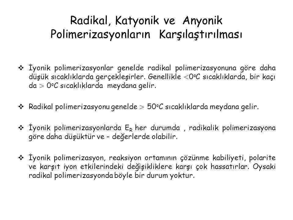 Radikal, Katyonik ve Anyonik Polimerizasyonların Karşılaştırılması  İyonik polimerizasyonlar genelde radikal polimerizasyonuna göre daha düşük sıcaklıklarda gerçekleşirler.