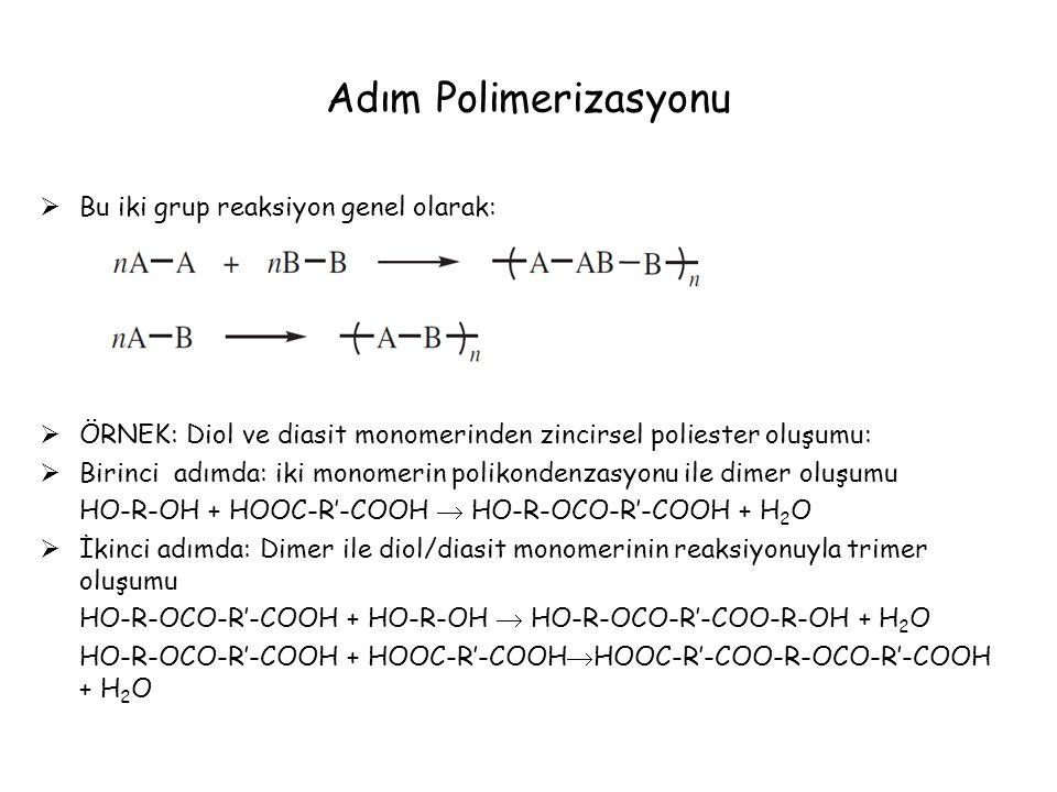 Adım Polimerizasyonu  Bu iki grup reaksiyon genel olarak:  ÖRNEK: Diol ve diasit monomerinden zincirsel poliester oluşumu:  Birinci adımda: iki monomerin polikondenzasyonu ile dimer oluşumu HO-R-OH + HOOC-R'-COOH  HO-R-OCO-R'-COOH + H 2 O  İkinci adımda: Dimer ile diol/diasit monomerinin reaksiyonuyla trimer oluşumu HO-R-OCO-R'-COOH + HO-R-OH  HO-R-OCO-R'-COO-R-OH + H 2 O HO-R-OCO-R'-COOH + HOOC-R'-COOH  HOOC-R'-COO-R-OCO-R'-COOH + H 2 O