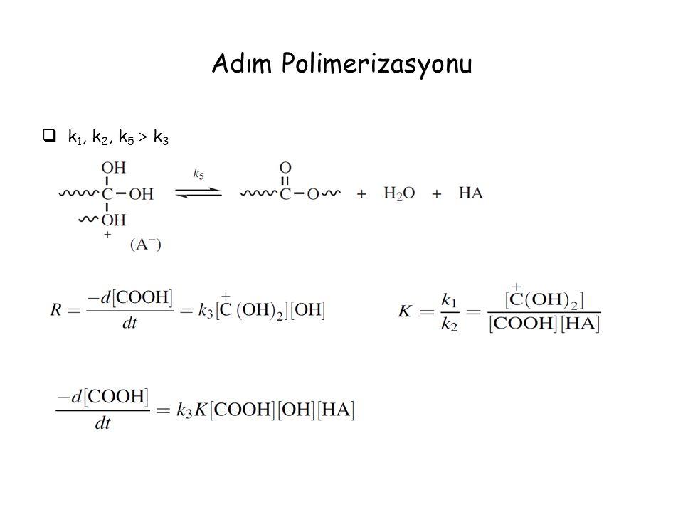 Adım Polimerizasyonu  k 1, k 2, k 5 > k 3