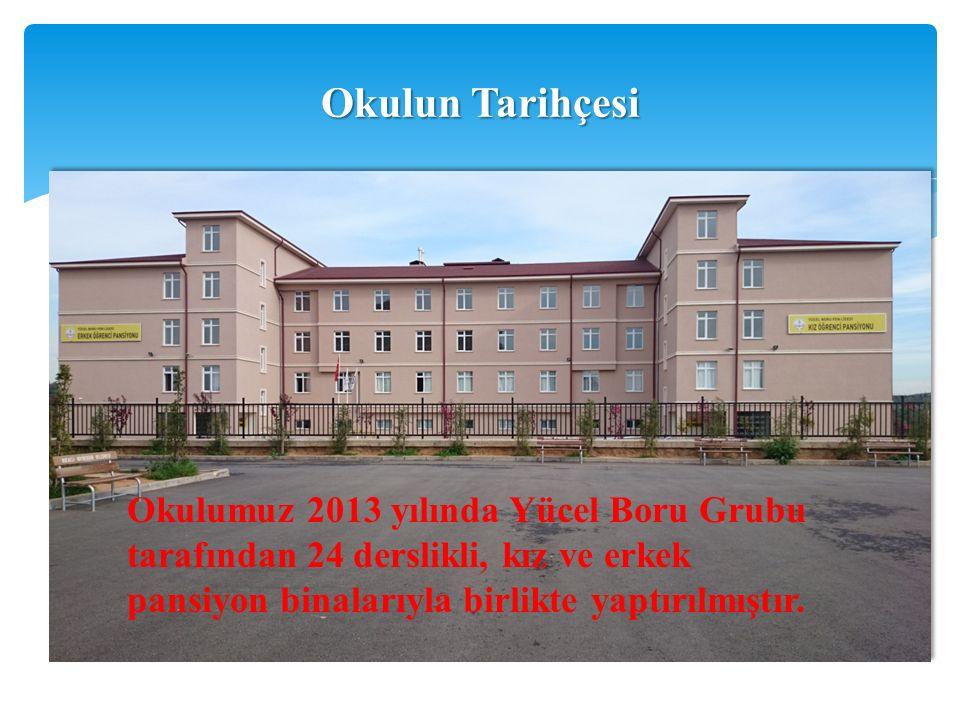 Okulun Tarihçesi Okulumuz 2013 yılında Yücel Boru Grubu tarafından 24 derslikli, kız ve erkek pansiyon binalarıyla birlikte yaptırılmıştır.
