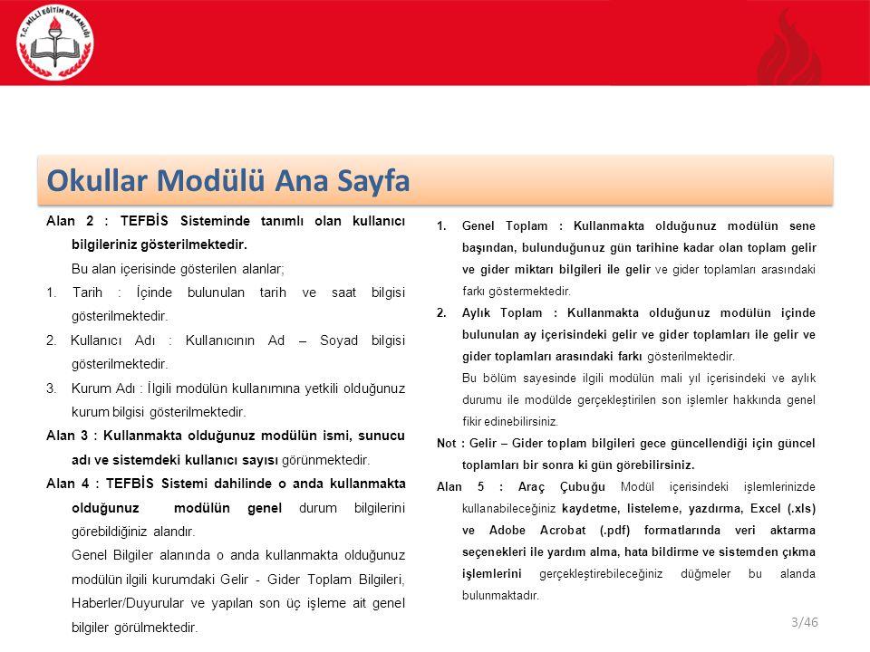 3/46 Okullar Modülü Ana Sayfa Alan 2 : TEFBİS Sisteminde tanımlı olan kullanıcı bilgileriniz gösterilmektedir. Bu alan içerisinde gösterilen alanlar;