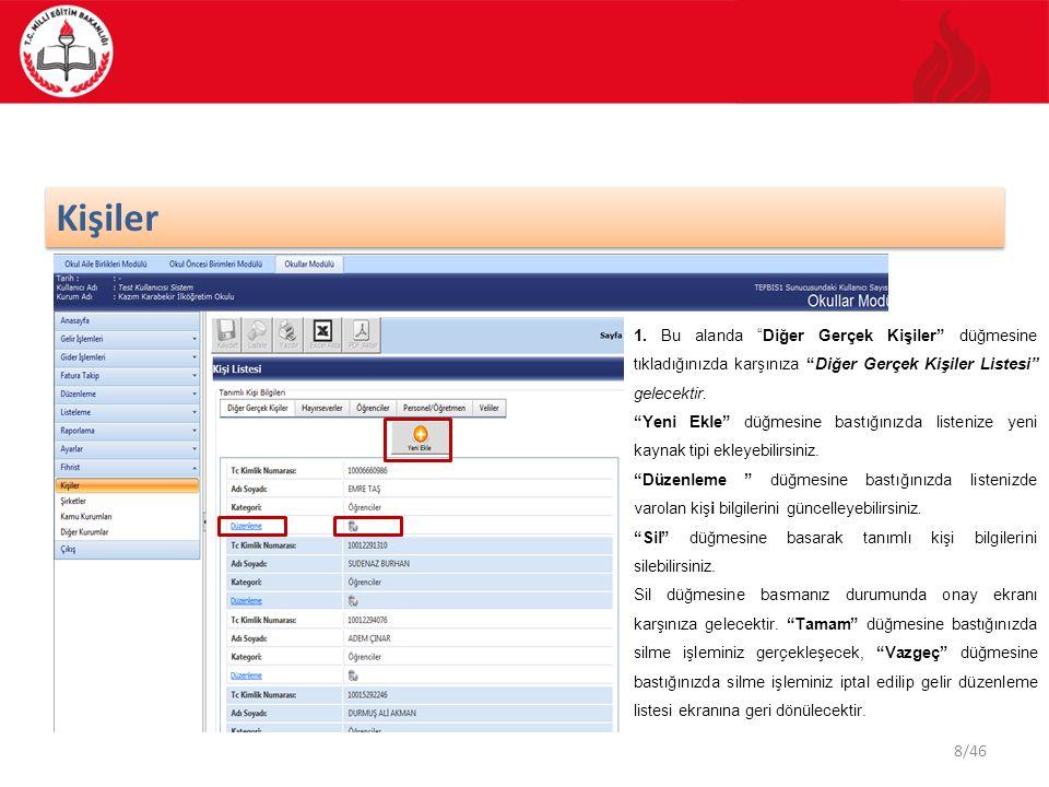 39/46 Listeleme İşlemleri Bu ekranda bulunan ok işaretine bastığınızda gelir işlemin detaylı bilgilerini görebilirsiniz.