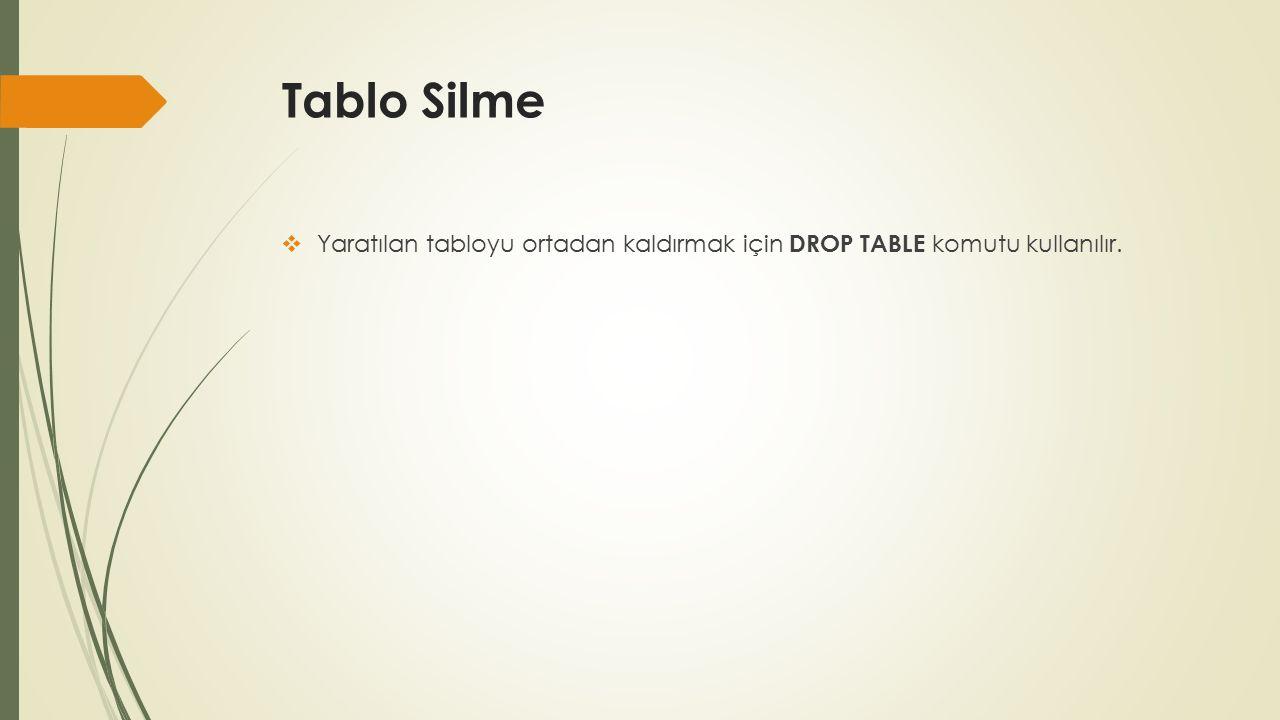 Tablo Silme  Yaratılan tabloyu ortadan kaldırmak için DROP TABLE komutu kullanılır.