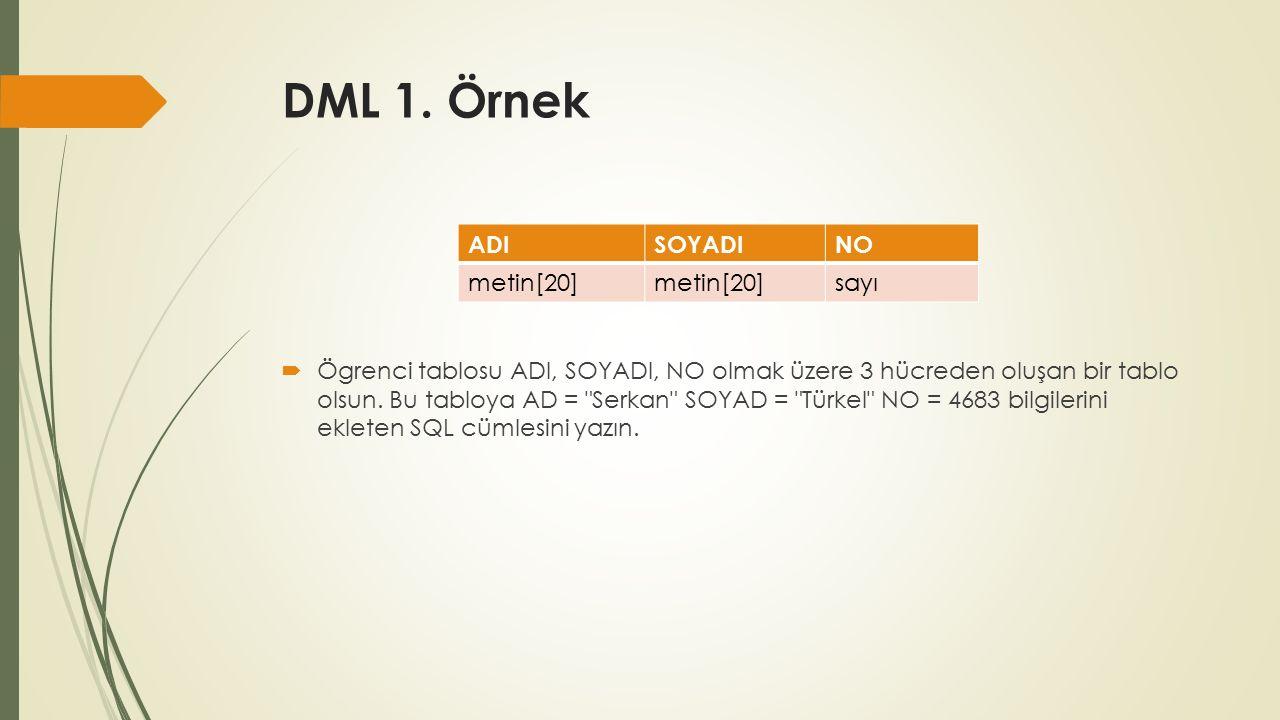 DML 1. Örnek  Ögrenci tablosu ADI, SOYADI, NO olmak üzere 3 hücreden oluşan bir tablo olsun.