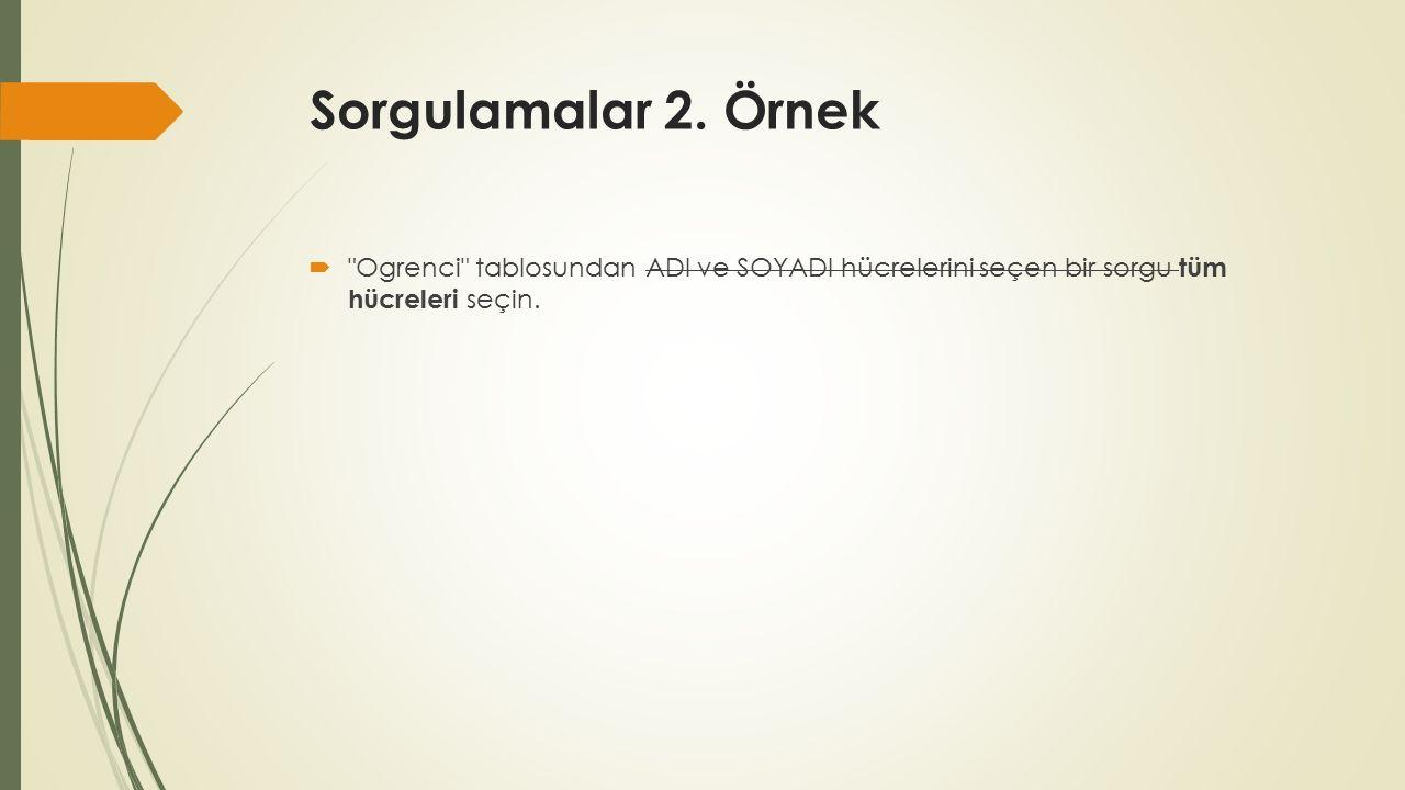 Sorgulamalar 2.