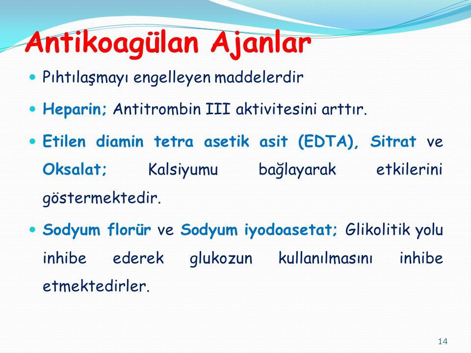 Antikoagülan Ajanlar Pıhtılaşmayı engelleyen maddelerdir Heparin; Antitrombin III aktivitesini arttır. Etilen diamin tetra asetik asit (EDTA), Sitrat