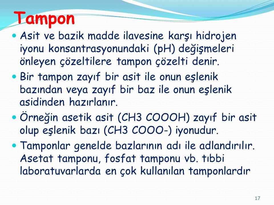 Tampon Asit ve bazik madde ilavesine karşı hidrojen iyonu konsantrasyonundaki (pH) değişmeleri önleyen çözeltilere tampon çözelti denir. Bir tampon za