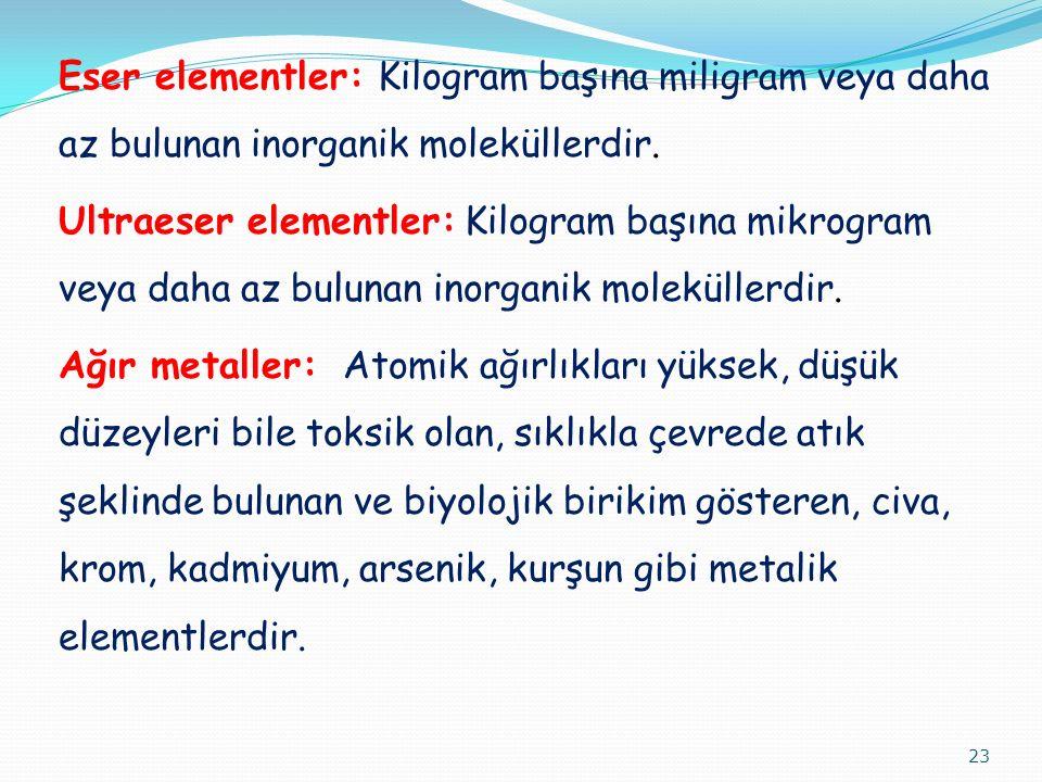 Eser elementler: Kilogram başına miligram veya daha az bulunan inorganik moleküllerdir. Ultraeser elementler: Kilogram başına mikrogram veya daha az b