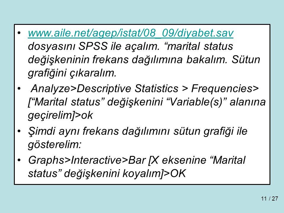 www.aile.net/agep/istat/08_09/diyabet.sav dosyasını SPSS ile açalım.