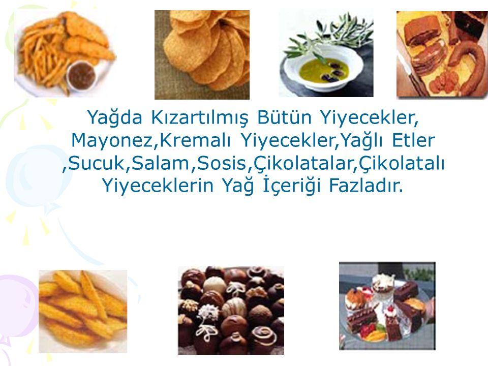 Yağda Kızartılmış Bütün Yiyecekler, Mayonez,Kremalı Yiyecekler,Yağlı Etler,Sucuk,Salam,Sosis,Çikolatalar,Çikolatalı Yiyeceklerin Yağ İçeriği Fazladır.