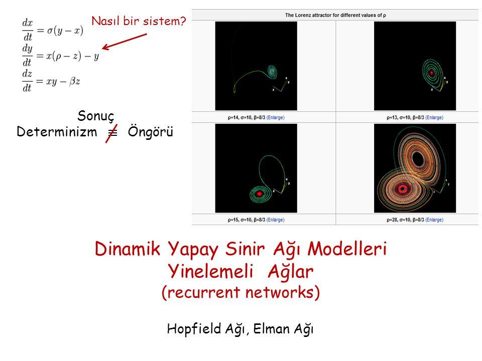 Nasıl bir sistem? Sonuç Determinizm Öngörü Dinamik Yapay Sinir Ağı Modelleri Yinelemeli Ağlar (recurrent networks) Hopfield Ağı, Elman Ağı