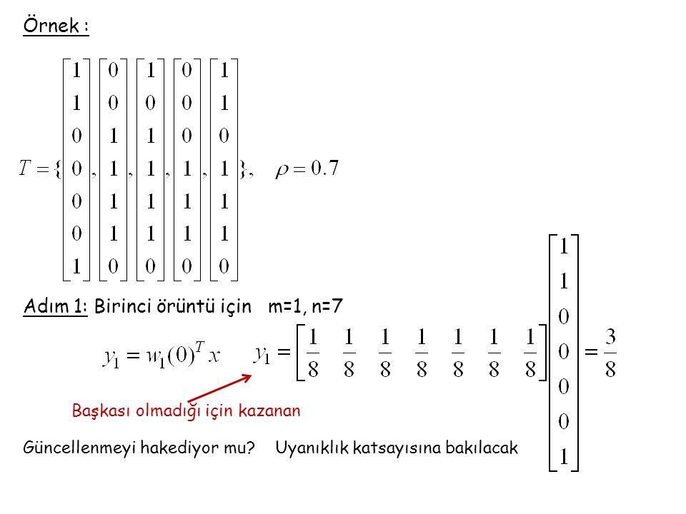 Örnek : Adım 1: Birinci örüntü için m=1, n=7 Başkası olmadığı için kazanan Güncellenmeyi hakediyor mu? Uyanıklık katsayısına bakılacak
