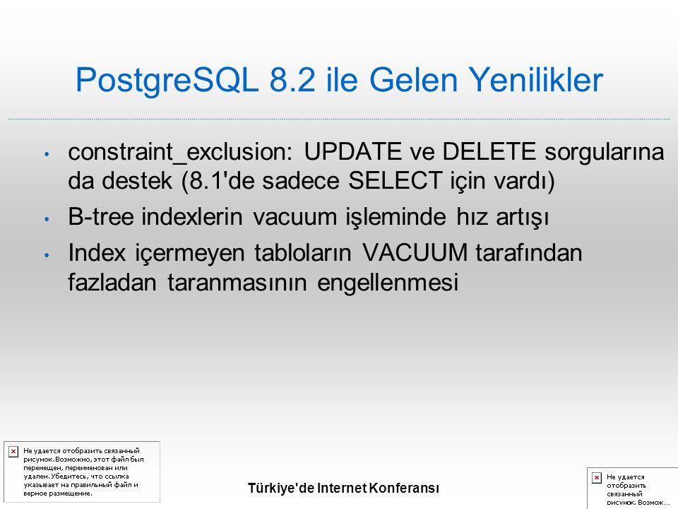 Türkiye de Internet Konferansı PostgreSQL 8.2 ile Gelen Yenilikler constraint_exclusion: UPDATE ve DELETE sorgularına da destek (8.1 de sadece SELECT için vardı) B-tree indexlerin vacuum işleminde hız artışı Index içermeyen tabloların VACUUM tarafından fazladan taranmasının engellenmesi