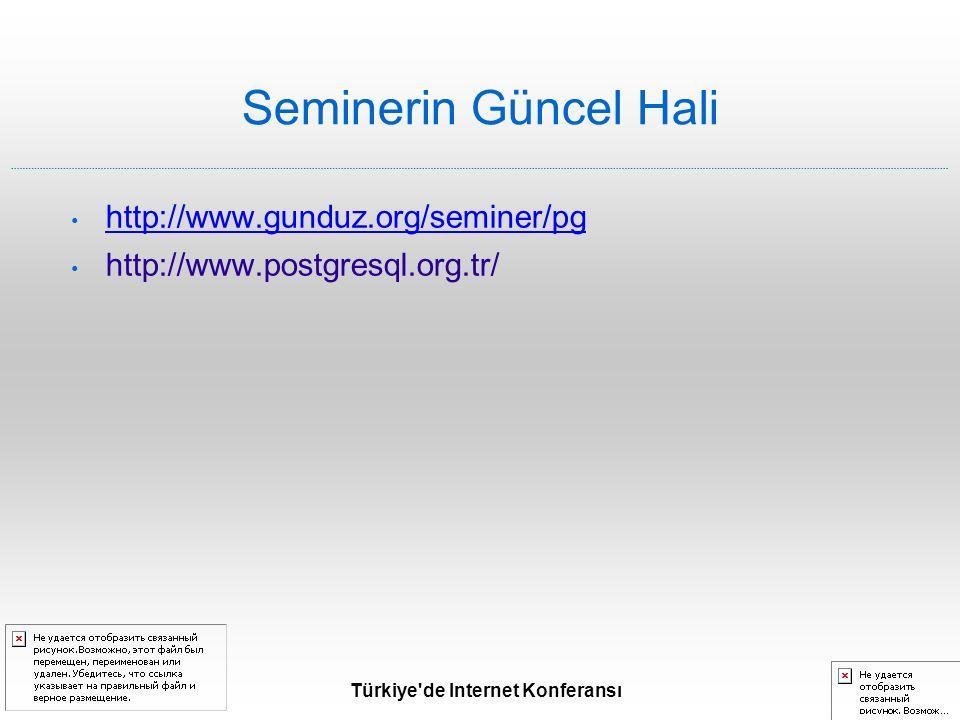 Türkiye de Internet Konferansı Seminerin Güncel Hali http://www.gunduz.org/seminer/pg http://www.postgresql.org.tr/