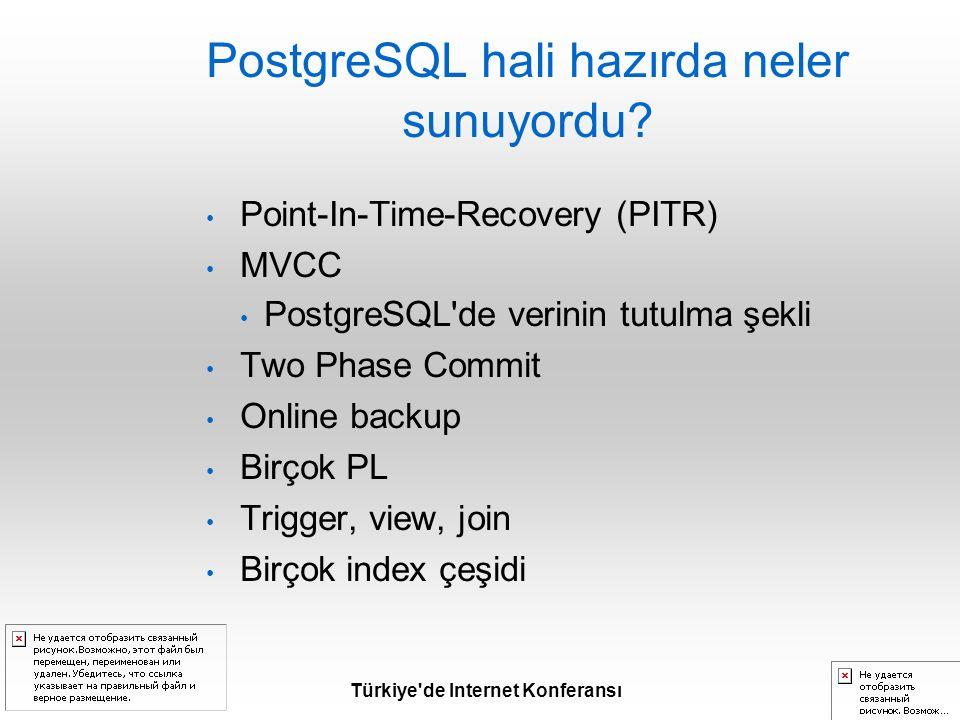 Türkiye de Internet Konferansı PostgreSQL hali hazırda neler sunuyordu.