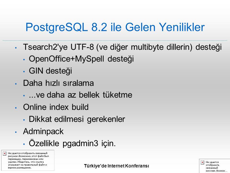 Türkiye de Internet Konferansı PostgreSQL 8.2 ile Gelen Yenilikler Tsearch2 ye UTF-8 (ve diğer multibyte dillerin) desteği OpenOffice+MySpell desteği GIN desteği Daha hızlı sıralama...ve daha az bellek tüketme Online index build Dikkat edilmesi gerekenler Adminpack Özellikle pgadmin3 için.