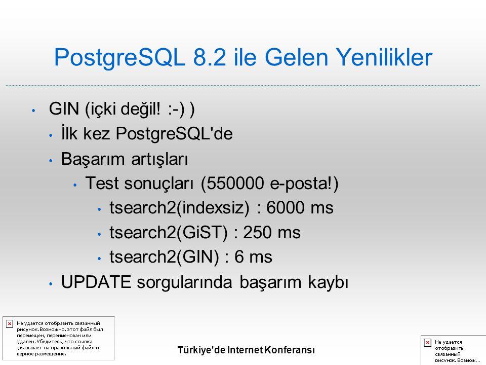 Türkiye de Internet Konferansı PostgreSQL 8.2 ile Gelen Yenilikler GIN (içki değil.