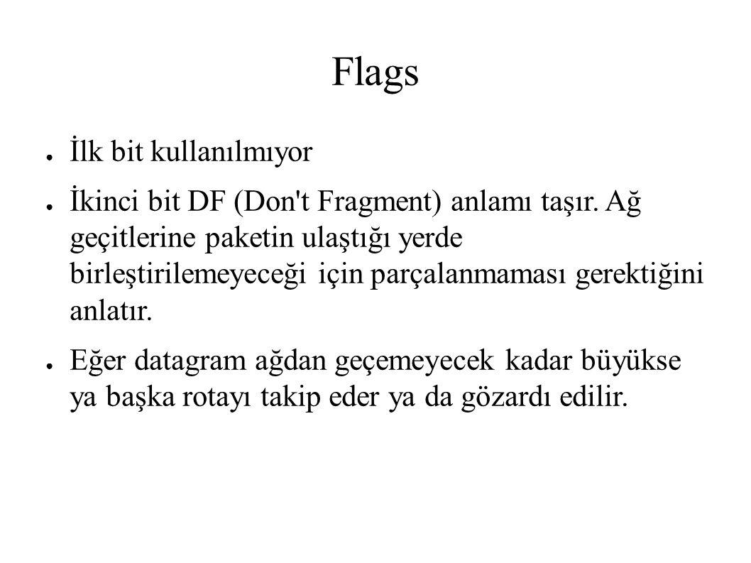 Flags ● İlk bit kullanılmıyor ● İkinci bit DF (Don't Fragment) anlamı taşır. Ağ geçitlerine paketin ulaştığı yerde birleştirilemeyeceği için parçalanm