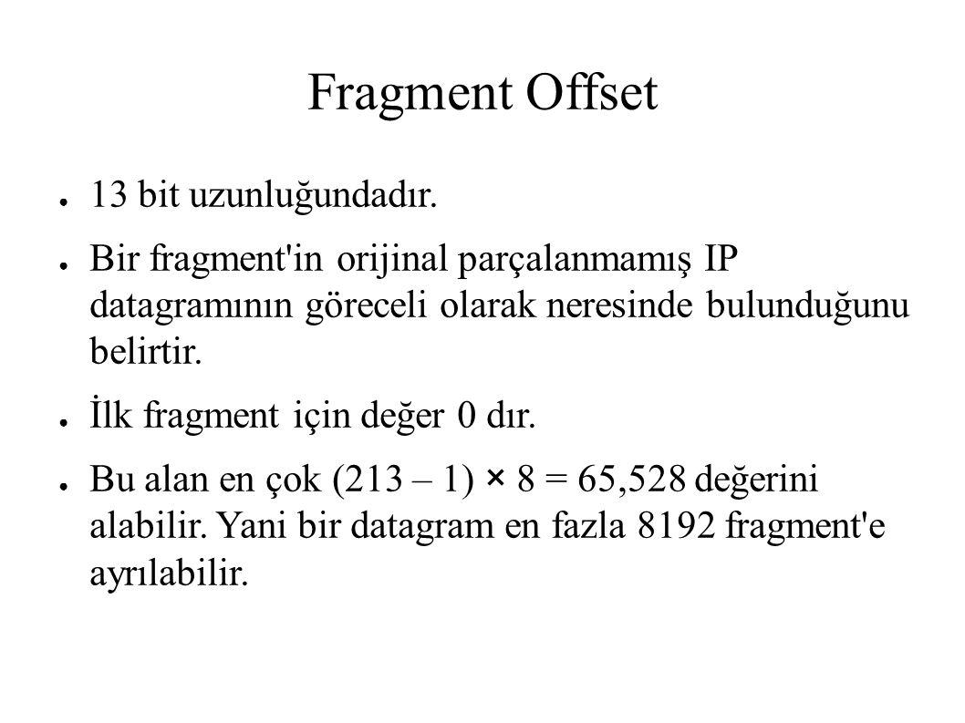 Fragment Offset ● 13 bit uzunluğundadır. ● Bir fragment'in orijinal parçalanmamış IP datagramının göreceli olarak neresinde bulunduğunu belirtir. ● İl