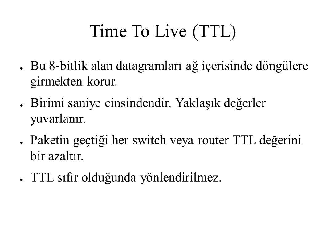Time To Live (TTL) ● Bu 8-bitlik alan datagramları ağ içerisinde döngülere girmekten korur. ● Birimi saniye cinsindendir. Yaklaşık değerler yuvarlanır