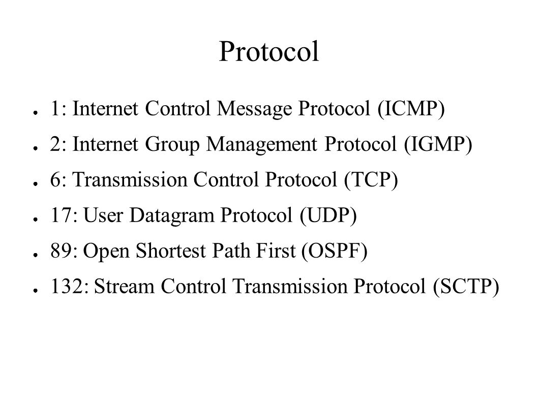 Protocol ● 1: Internet Control Message Protocol (ICMP) ● 2: Internet Group Management Protocol (IGMP) ● 6: Transmission Control Protocol (TCP) ● 17: User Datagram Protocol (UDP) ● 89: Open Shortest Path First (OSPF) ● 132: Stream Control Transmission Protocol (SCTP)